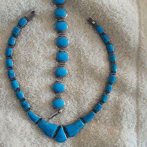 Sterling silber 950 turquoise bracelet and necklace for Sale in Arlington, VA