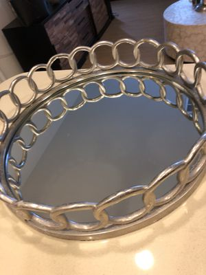 Z Gallerie silver metal & mirrored tray for Sale in Irvine, CA