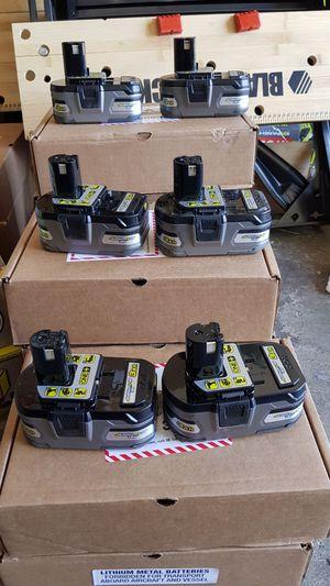 RYOBI 18V LITHIUM ION 3.0AH BATTERIES BRAND NEW EACH POR UNA BATERIA for Sale in San Bernardino, CA