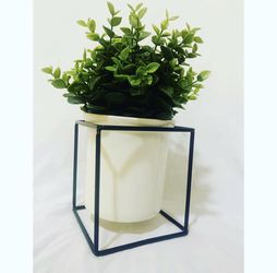 Geometric Black Square With White Ceramic Pot With Faux Plant for Sale in Phoenix,  AZ
