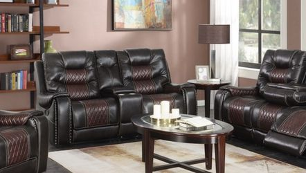 3 Piece Leather Sofa Set Brand New Two tone With Chrome Cupholders for Sale in Marietta,  GA