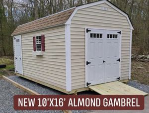 New 10' x 16' Almond Vinyl Gambrel Shed with 4Lite Doors for Sale in Taunton, MA