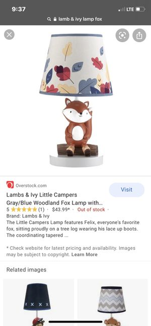 Lambs & Ivy Little Campers Gray/Blue Woodland Fox Lamp with Shade & Bulb for Sale in Chula Vista, CA