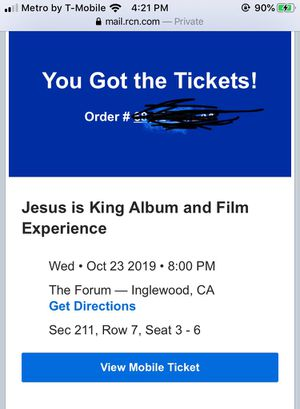 4 tickets to Kanye west Jesus is King Album for Sale in Inglewood, CA