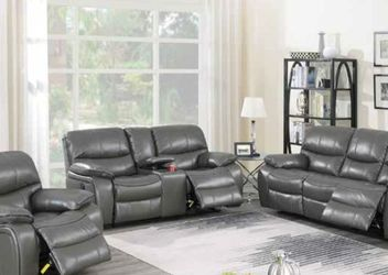 F86318-19 2 pc Latitude run lauren power motion dark gray gel leatherette sofa and love seat set recliner ends for Sale in Midway City,  CA