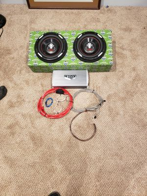 Two 12 inch boss audio systems 2100 wats subs with 1600 amp kit for Sale in Burlington, WA