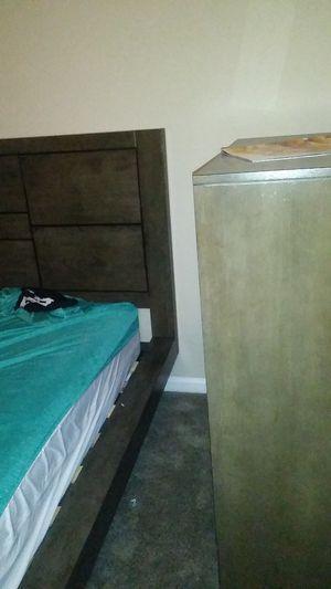 Queen platform bedroom suit with dresser, nightstand and armour for Sale in Nashville, TN