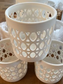 12 White Candle Holders Or Center Piece Holders for Sale in Portland,  OR