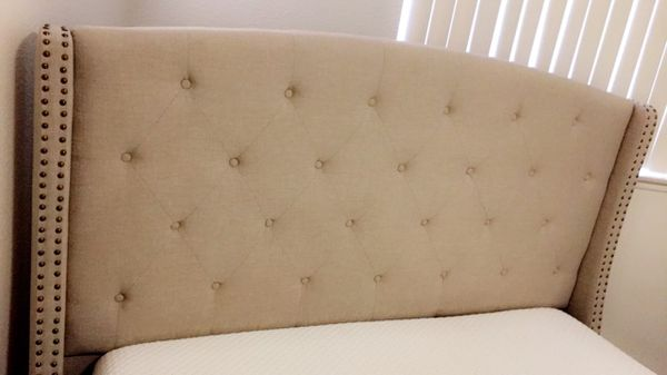 Queen Upholstered bed frame/memory foam mattress and box spring