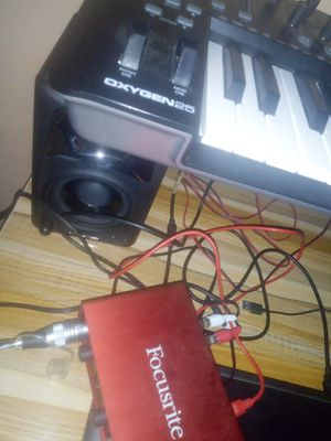Focusrite 2i2 ,M- audio oxygen 25 and M-audio speakers with condenser mic and headset for Sale in New York, NY