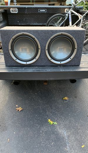 """(2) 12"""" Kenwood Subwoofers and box. Small crack in right speaker. Still work great. for Sale in North Attleborough, MA"""