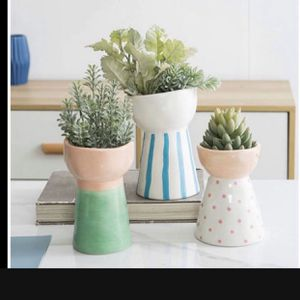 CERAMIC FLOWER BASE BRAND NEW 🔥 SET OF 3 Jojuno Set of 3 Ceramic Flower Vase, Special Lovely Face Design Style, Decorative Modern Floral Vases for H for Sale in Fountain Valley, CA