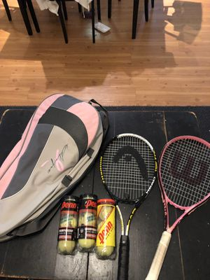 2 Tennis rackets, 3 sets of balls and new case for Sale in Fort Lauderdale, FL