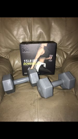 (2) 7.5 Pound Dumbbells 15 LB Set Plastic NEW for Sale in Miami, FL