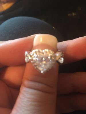 Genuine white Topaz Wedding/engagement ring set in solid sterling silver for Sale in Terre Haute, IN