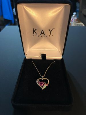 Kay Jewelers Heart Shaped Diamond/Opal/Pink Sapphire/Purple Sapphire Necklace for Sale in Denver, CO