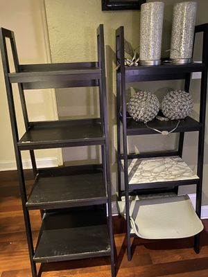 Two ladder stands tables, night stands, ladder bookcase, black for Sale in Orlando, FL