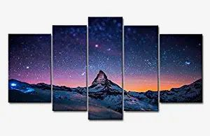 Fresh Look Color 5 Piece Wall Art Painting Starry Night Sky Over The Mountains Prints On Canvas The Picture Landscape Pictures Oil For Home Modern De