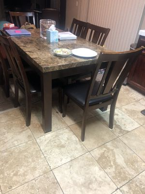 Dining marble table with eight chairs $450 for Sale in Tracy, CA