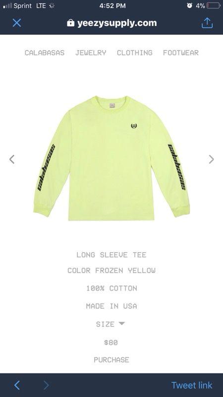Yeezy calabasas Frozen Yellow Sweatshirt Large for Sale in Raleigh ... 560b4c42a299