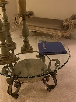 """40"""" Diameter Beveled Glass and Iron Coffee Table for Sale in Plymouth,  MA"""