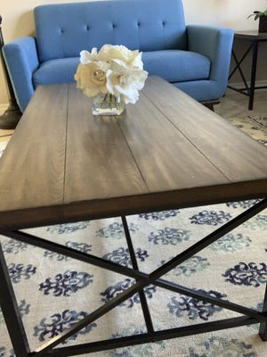 Industrial metal and wood Coffee table set for Sale in Corona, CA