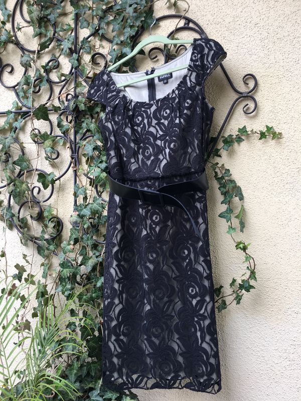 Adrianna Papell Black formal evening cocktail dress sz 8