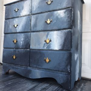 Antique solid wood blue white black small dresser chest entry table statement piece cabinet tv stand hallway for Sale in Rancho Cucamonga, CA