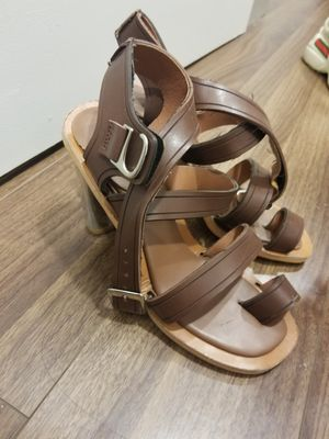 Brown Buckled Sandles Women Size 7 Metallic Chromatic Heels for Sale in Los Angeles, CA