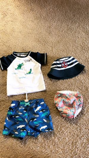 Baby swim stuff shirts caps 🧢 short diaper size 18 - 24 almost new used only 2 times Good condition very clean for All $20. Price firm for Sale in San Diego, CA