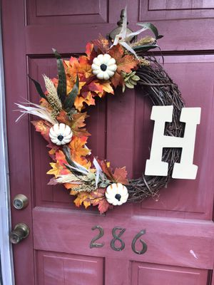 Fall wreath with any initial for Sale in Spartanburg, SC