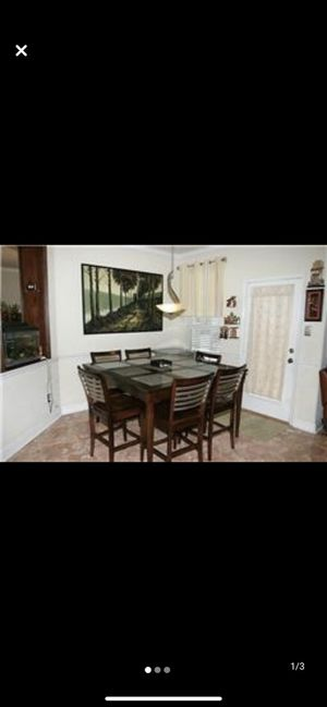 Price Drop Bassett Modern 6 Chair Tall Dining Set with Granite and Wood Top, Coffee Color Stainless Steel Back Chairs, Solid Wood. for Sale in Lynnwood, WA