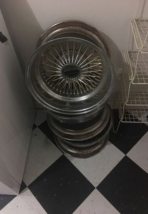 3 Dayton rims Gold white 16 1/2 last day to get them 1/12/18 for Sale in Sacramento, CA