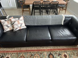 Black CB2 Leather Sofe for Sale in Pflugerville,  TX