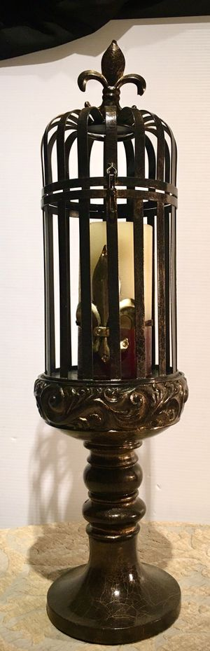 Beautiful metal decorative art candle holder H23xW6 inch Lbs 3.6 for Sale in Chandler, AZ