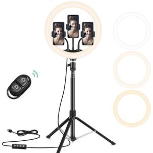 "12"" Selfie Ring Light with 3 Color Modes, 10 Adjustable Brightness, 63"" Extendable Tripod Stand, 3 Phone Holders, Bluetooth Remote Shutter for Photogr for Sale in Irvine, CA"