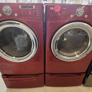 Lg Front Load Washer And Electric Dryer Set With Pedestal Used In Good Condition With 90day's Warranty for Sale in Mount Rainier, MD