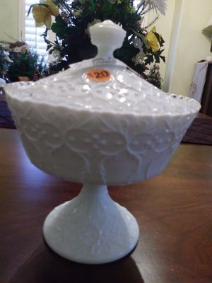 Fusion milk glass candy dish for Sale in Phoenix, AZ