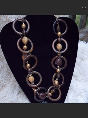 NWOT Gorgeous Geometrical Wood & Stonework Necklace for Sale in Bartow, WV