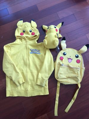 Pokemon Pikachu Jacket sz S , backpack and stuffed plushie for Sale in San Jose, CA