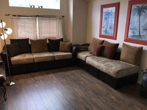 Suede Sectional Couch Set of 2 pieces for Sale in Lithia, FL