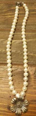 Faux Pearl and Sunflower Pendant Necklace for Sale in Westminster, CO