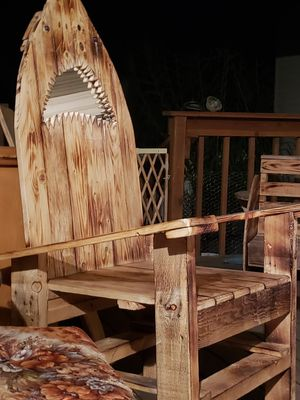 Wooden Shark chair glass mouth handmade for Sale in Tooele, UT