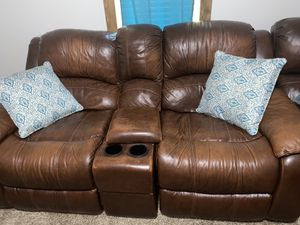 Brown leather couch for Sale in Gastonia, NC
