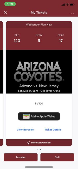 New Jersey Devils vs Arizona Coyotes 2 Lower Level Tickets for Sale in Scottsdale, AZ