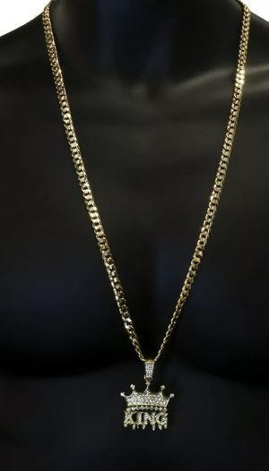 """24"""" or 30"""" 6mm Mens 14k Gold Plated Hip Hop KING Pendant Cuban Chain 6mm for Sale in Los Angeles, CA"""