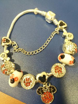 Beautiful Multi Charm Mickey and Minnie Charm Bracelet With Beaded Crystals for Sale in The Bronx, NY