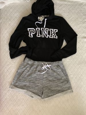 Victoria's Secret Pink Full zip Hoodie/Shorts for Sale in Bell, CA