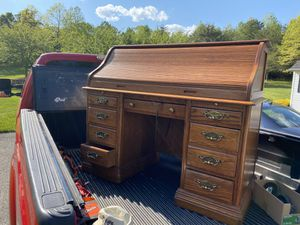 Solid Oak S Curve Roll Up Desk for Sale in Davidsonville, MD