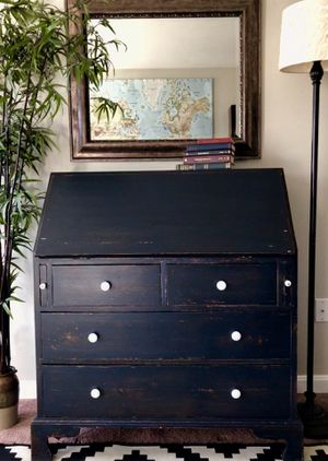 Blue secretary desk for Sale in Sykesville, MD